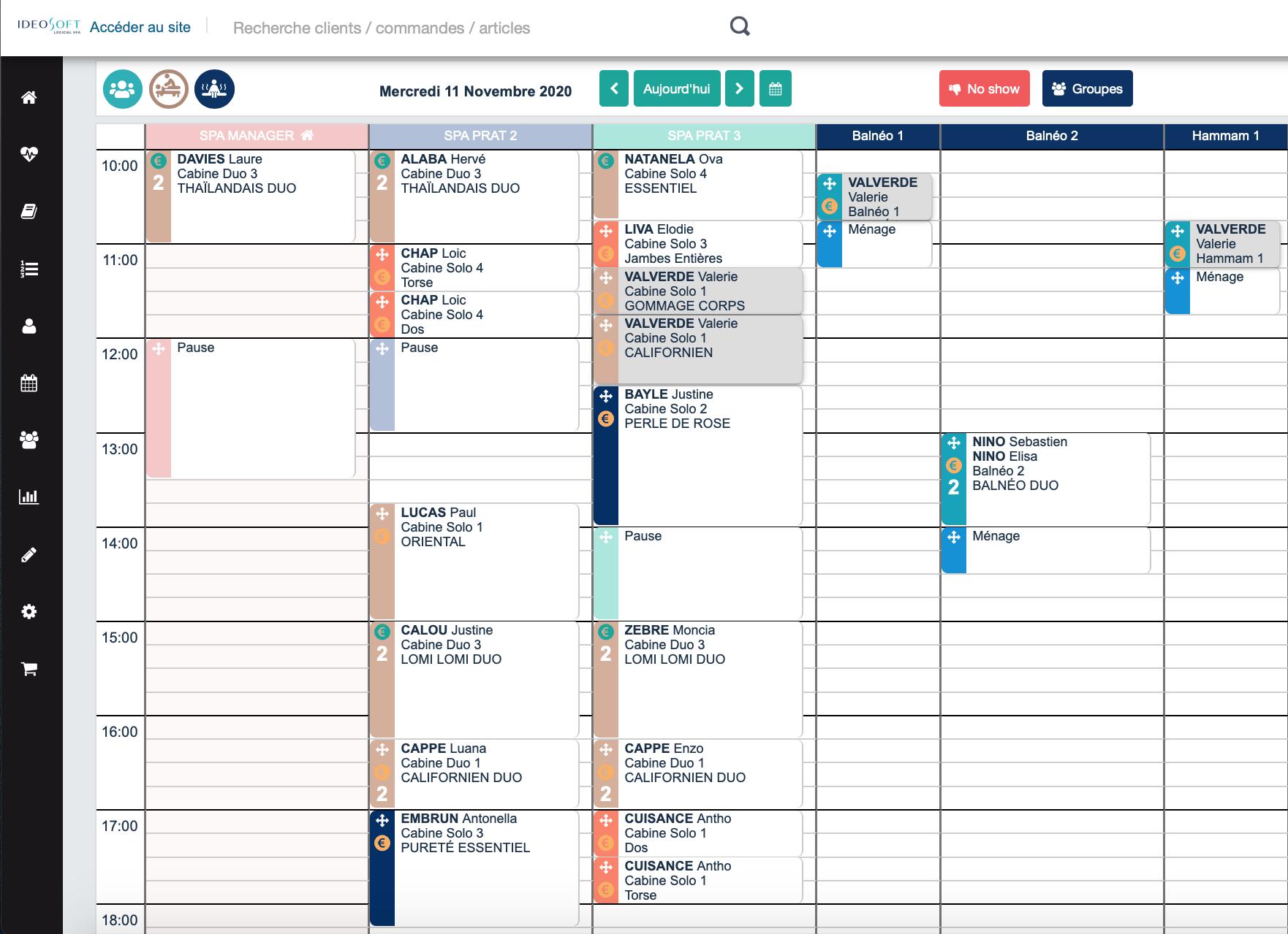 Planning de la journée avec le détail de chaque prestation (prat, cabine, horaire, identification du client ...)