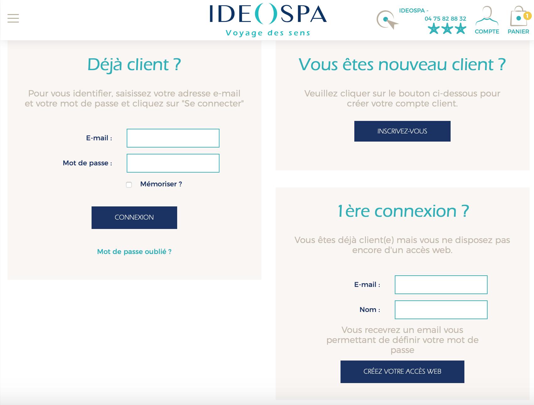 Création d'un compte client a chaque achat sur le site marchand.